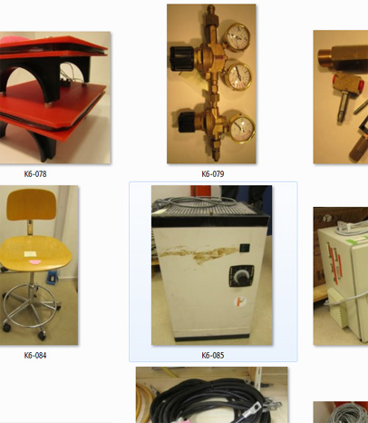 Different kind of equipment that can be part of campaigns(gas valves, chairs, magneter etc)